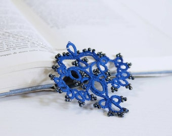 Beaded blue tatted necklace/ pendant necklace/ blue necklace/tatting necklace/silver tatted/pendant/lace frivolite