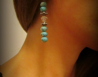 Beautiful blue crystal earrings with Tibetan silver highlights