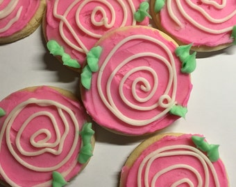 Rustic Flower Frosted Sugar Cookies