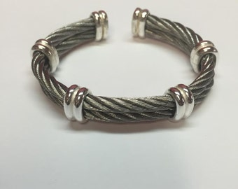 Luxurious Sterling Silver and Stainless Steel Cable Bracelet - DD CUSTOM JEWELRY