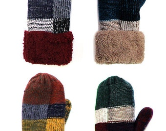 Insulated mittens with patchwork design - 4 Pack - EML1510131134AM