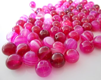 15 pink agate beads 8mm polished round Hot pink Raspberry Purple pink agate beads Shamballa Macrame bracelet Ball beads Jewelry Supplies