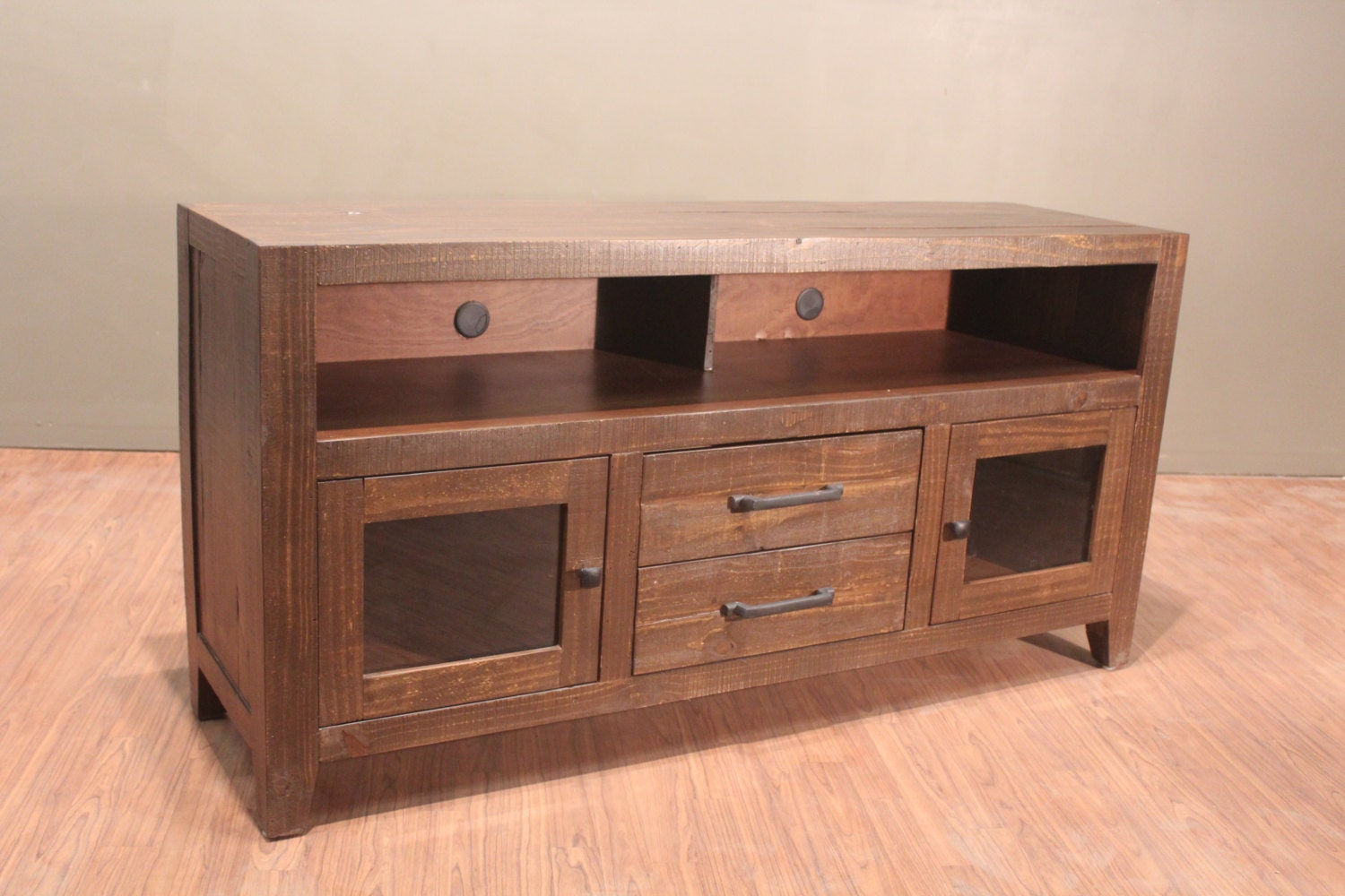 Rustic Solid Reclaimed Wood Tv Stand Media Console
