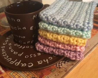 Lot of 10 Plain Crochet Coffee Cozies/ Coffee Sleeves/ Cup Cozies
