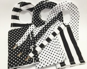 Minky Burp Cloths, Bibs, Pacifier Clips Set Black and White Collection, baby gift