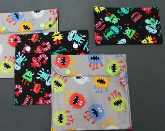 Monster theme reusable sandwich and snack bags
