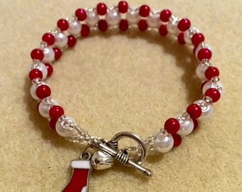 Red and white stocking bracelet