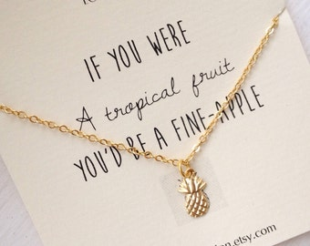 Pineapple Necklace, gold pineapple necklace, pineapple jewelry, tiny pineapple necklace , dainty, cute, inspirational, tiny, pineapple, 14k