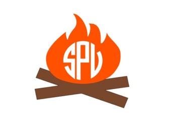 Campfire Monogram, Campfire Decal, Camping decal, Car Decal,