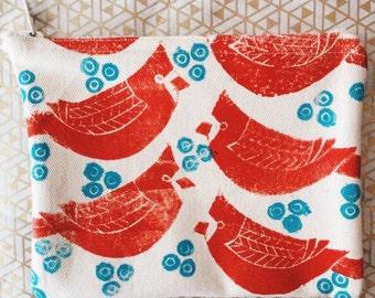Block Printed Zip Pouch: Cardinal Pattern