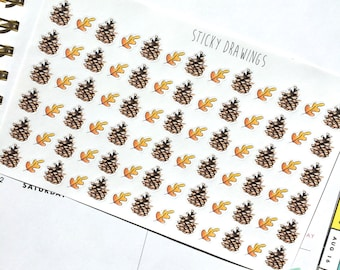 Pinecone and Leaf Stickers
