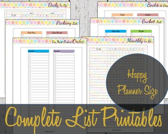Happy Planner Inserts, List Inserts, Create 365, To Do List, Mambi Insert, Happy Planner Refills, Happy Planner Printable Pages, List Refill