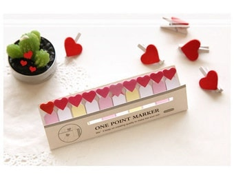 Mini Love Heart Sticky Notes - Cute Kawaii Post-It Notes / Stationery / Stationary / School Supplies / Memo Pad / Small Tiny Sticky Notes