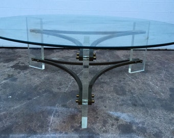 Vintage Lucite and Brass Coffee Table by Charles Hollis Jones
