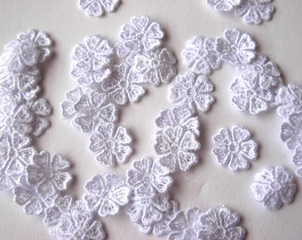 Pack of 50 wedding white lace appliques motifs flowers