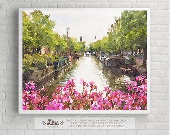 Netherlands, Amsterdam Water Canal, Floral - Aquarelle Watercolor Painting Digital Wall Art Instant Download