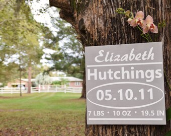 Baby Stats Nursery Wall Art - Birth Announcement Sign. Hand Painted 1-Sided. Name, Birth Date, Weight, Length. Custom Made Choices Available