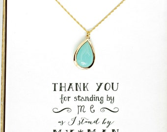 9 Sets Mint Necklace , Bridesmaid Mint Jewelry, Mint Bridesmaid Jewelry Gift, Mint Gold Necklace, Mint Blue Necklace, NK9