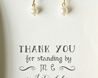 Set of 6 Bridesmaid Pearl Earrings, Pearl Bridesmaid Earrings, Freshwater Pearl Earring, Genuine Pearl Earring, Gold Pearl Drop Earring, ES6