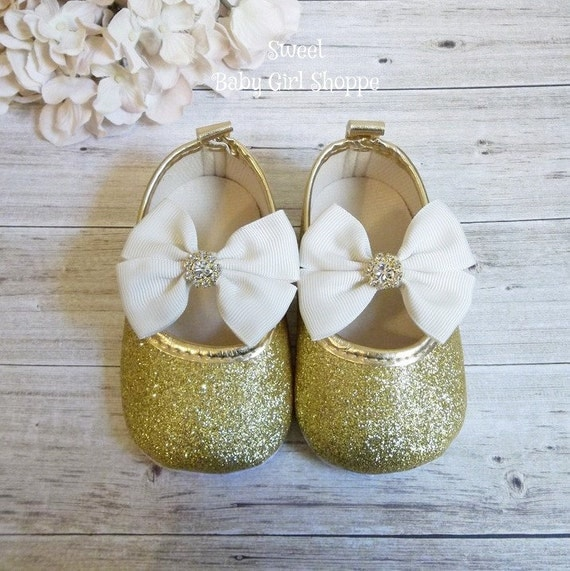 Ivory and Gold Baby Girl Shoes Ivory and Gold Flower Girl