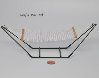 1: 12 Dollhouse Miniature Hammock with Stand/ Miniature furniture/ Miniature Hammock AZ  EIWF317