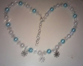 Frozen Snowflake beaded necklace