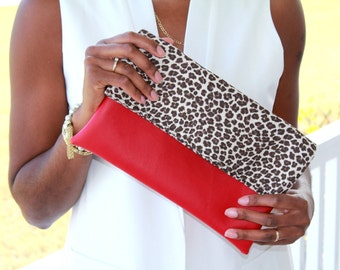 The Marie, Red and Leopard, Animal Print Clutch, Fold-Over Clutch, Vegan Clutch, Faux Leather Clutch, Leopard Print Clutch, Evening Clutch