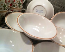 1970's Set of SEVEN (7) Sheffield Strawberries N' Cream Coupe Soup BOWLS, Retro, Country Cottage, Farmhouse, Cabin Decor, Bed and Breakfast