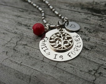 Hand Stamped Necklace - Personalized Gift - Family is Forever Necklace - Tree of Life