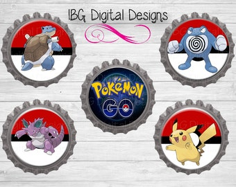 Pokemon go digital download 1 inch bottle cap image sheet || Pokeball bci's