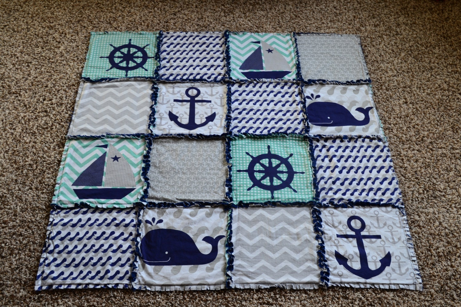 Baby Rag Quilt Nautical Baby Quilt Anchor Whale Nautical