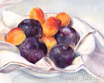 Fruit Still Life, Plums and Apricots Giclee Print of Original Oil Painting, Still Life Oil Painting, Giclee Print