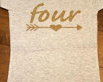 4th Birthday, Fourth Birthday, four birthday, 4 birthday, Glitter Birthday Shirt, Gold Glitter Birthday Shirt, Third Birthday, 3rd Birthday