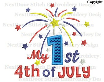 My 1st  4th of July, Fireworks Stars Machine Embroidery Applique Design, july-003