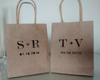 Set of 12 - Personalized Kraft Bags/Wedding Bags//Wedding favor Bag//Wedding Candy Paper Bag//Gift Bag/Wedding Gift/Bomboniere Matrimonio