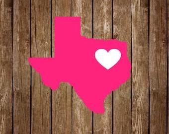 Texas heart Decal // Texas Love Decal // Texas car decal // Texas laptop decal // State Decal