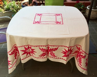 Table cloth, hand embroidered by the Otomi people from Mexico 170 x 180 cm