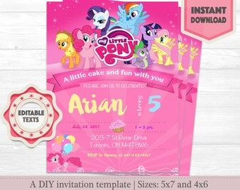 My little Pony Birthday Invitation Instant Download