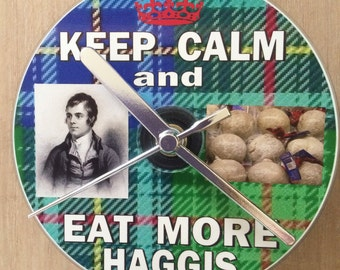 Keep Calm And Eat More HAGGIS CD CLOCK (Can be Personalised)