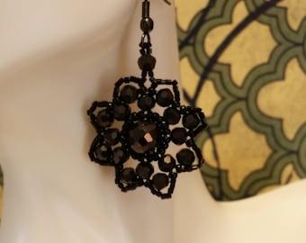 Czech Glass and Seed Bead Earrings - Black - OOAK