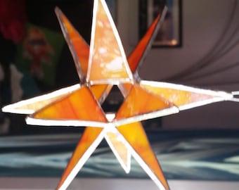 12 point orange stained glass star sun catcher.