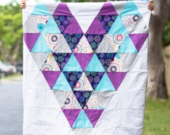 Triangle Heart Quilt with Minky Backing
