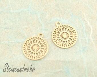 2 x BOHO filigree 12mm gold plated pendant #3129