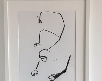 Original drawing of an abstract monkey hanging