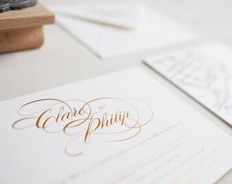 Gold Foil Rosalind - Invitation Sample