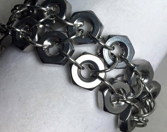 Handmade Men's 2 row #12-24 Stainless Steel Hex Nut Bracelet Jewelry