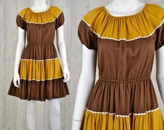 1960's Vintage M Womens Kate Schorer Originals Rockabilly Square Dance Tea Dress