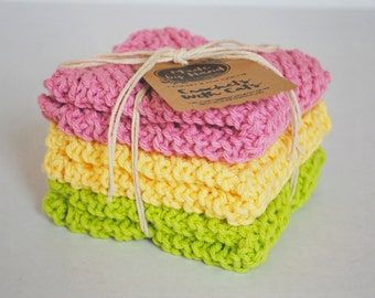 Knit Dish Cloths / Wash Cloths - Set of 3 - Pink , Yellow , Lime Green