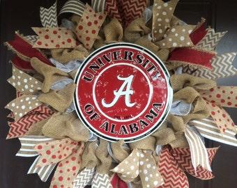 University of Alabama wreath with round vintage sign