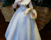 Vintage Lefton /Napco/Josef Lady in Blue Dress Figurine from the 1960's/Vintage Mothers Day Gift/Shabby Chic